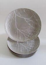 Rare Mid Century Jack Lenor Larsen Mikasa Arbor Taupe 8.5 Plates Set 6