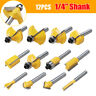 "12 Pce Tungsten Carbide Tipped TCT Router Bits 1/4"" Shank Sealed Bearing Bit Set"