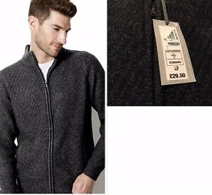 M&S Funnel Neck  Chunky Textured Zip Front Cardigan Rrp £29.50 Small NAVY-KHAKI