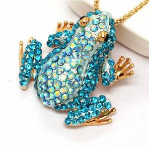 New Betsey Johnson Blue Rhinestone Cute Frog Crystal Pendant Women Necklace