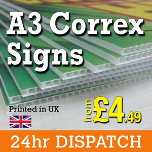 A3 Correx Signs - Printed Colour A3 Correx Board, Lamp Post Sign - FREE Artwork