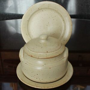 Winchcombe Pottery Individual Lidded Bowl, Dish, Side Plate Trio