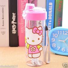 Hello Kitty Clear Plastic Cover Lock Travel Water Bottle 400ml KK769