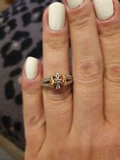 14k Russian Rose Gold Ring Band. Size j.  diamonds.