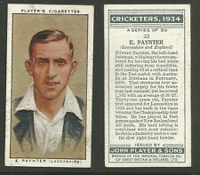 PLAYER'S 1934 CRICKETERS E.PAYNTER Card No 22 of 50 CRICKET CIGARETTE CARD