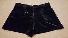 Navy highwaisted velvet velour hotpants shorts Topshop 10