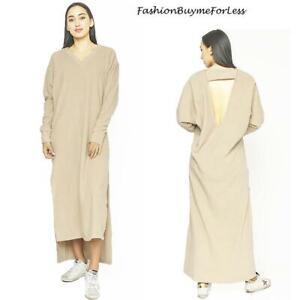 70S Hippie Haute BOHO Open Back Cream FLEECE Long Maxi Sweater Dress S M L XL