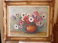 "Jean Laverdure (Twentieth )"" Still Life The Anemones "" Oil On Carton Frame"