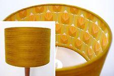 Original 60s/70s Retro Fabric Lampshade, 30cm Drum Geometric Brown Gold Orange