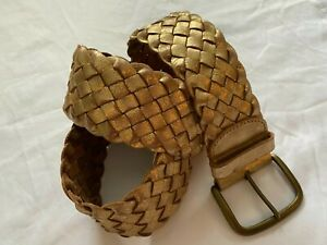 "Fossil 2"" Wide Gold Leather Breaded Woven Belt Women's Size Medium EUC"