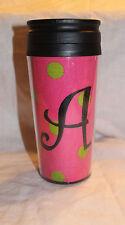 Noell Travel Mug Initial A Pink Green Tweed New NWT HTF