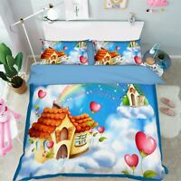 3D Rianbow House 86 Bed Pillowcases Quilt Duvet Cover Set Single Queen UK Kyra