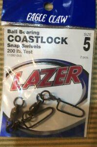 4 Eagle Claw LAZER COASTLOCK Size 5 Ball Bearing Snap Swivels 200lb test