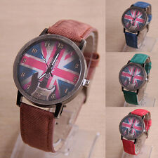 Watches Women Retro Guitar British Flag Pattern Leather Quartz Watch WristWatch
