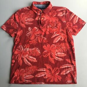 Tommy Hilfiger Shirt Mens Large Red Polo Cotton Floral Casual Preppy Golf 43M
