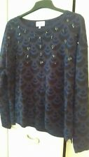 NEXT BLUE AND BLACK BEADED JUMPER SIZE 16.