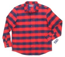 NEW CLUB ROOM FIRE RED NAVY PLAID FLANNEL COTTON BUTTON DOWN SHIRT SIZE 3XL