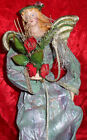 """14"""" Collectible Fabric Mache Angel Decorative Christmas Tree Topper Figurine"""