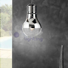 Lampadario lampada sospensione lampadina design moderno acciaio cromato cucina