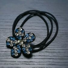 QUALITY Hair Rope Band use Swarovski Crystal Hairpin Ponytail Holder Blue Gray