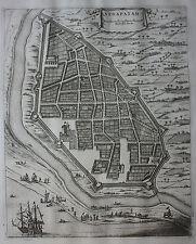 Original antique map plan INDIA, NEGAPATAM, NAGAPATTINAM Baldaeus Churchill 1744