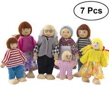 Puppenfamilie Holzpuppen für Puppenhaus Kinderspielzeug 7 Stücke