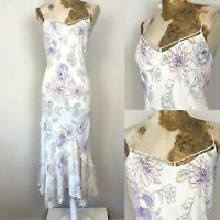 F&F Dress 18 Cream Ivory Floral Maxi Long Floaty Frill Occasion Holiday Summer