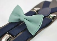 Sage Green Cotton Bow tie + Navy Blue Elastic Suspenders Men Youth or Boy