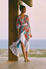 BNWT ANTHROPOLOGIE FARM RIO size S SUSANNE MAXI WRAP DRESS BLUE FLORAL $230