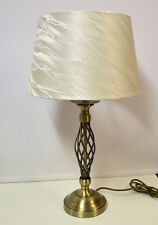 Table Lamp Antique Brass Base Ivory Cream Shade
