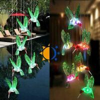Solar light hummingbird led light wind chime 7 color hummingbird lamp hanginBLUS