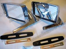 VINTAGE CHROME SQUARE MIRRORS CLASSIC MUSCLECAR RESTOMOD HOTROD COMPLETE KIT