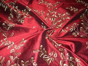 10 6/8 YDS 100% SILK TAFFETA VINE EMBROIDERED DRAPERY UPHOLSTERY FABRIC FOR LESS