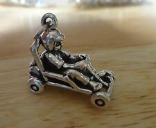 Sterling Silver 3D 19x22x12mm Heavy 7 gram Go Kart with Rider Charm