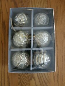 Set of 6: Mercury Glass Adorned Embossed Round Christmas Ornament - Silver - New