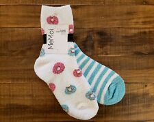 MeMoi Womens Fuzzy Socks Set of 2 Pairs Donuts and Striped Socks Cozy Soft Touch