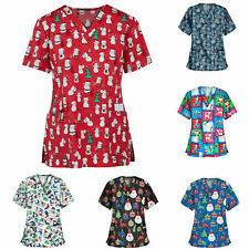 Women's Nursing Scrub Tops Printed Medical Uniform Merry Christmas Flowers Shirt