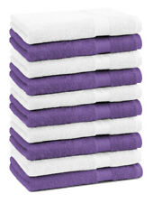 Betz 10 Toallas de cara 30x30cm PREMIUM 100% algodón de colores morado y blanco