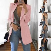 Women Lapel Long Sleeve Slim Fit Blazer Suit Office OL Work Jacket Coat Cardigan