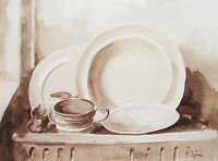 DUNCAN BRUCE - STILL LIFE - LISTED ARTIST WATERCOLOR - 1977 - FREE SHIP IN US !!