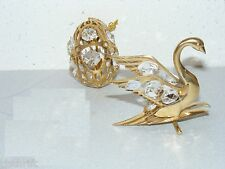 VINTAGE 2PC MASCOT GOLD PLATED CRYSTAL SWAN & EGG SUNCATCHER  FIGURINES