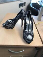 Odeon Black & Silver Lace Effect Stiletto Heel Shoe Peep Toe Size 6 NEW Prom