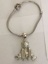 Bear TG76 en una pulsera serpiente plata rodio plateado