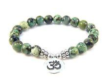 Om Aum Beaded Bracelets Healing Gemstones African Turquoise Beads Stones Yoga