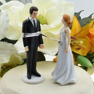 Bride Lassos The Groom Bride and Groom Wedding Cake Topper
