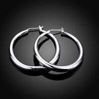 NEW Stunning Women Girls 925 Sterling Silver Filled 34mm Round Hoop Earrings