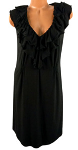 Tiana B. black sleeveless v neck ruffle spandex stretch plus flare dress 3X