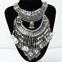 Gypsy Bohemian Vintage Ethnic Tribal Coin Pendant Statement Collar Necklace BEB