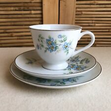 Vintage YAMATO Japan FORGET Me NOT Blue FLORAL Trio TEA CUP Saucer PLATE Set