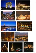PARIS BY NIGHT SCENES SET OF 11 FLEXIBLE THIN FRIDGE MAGNETS FRANCE EIFFEL TOWER
